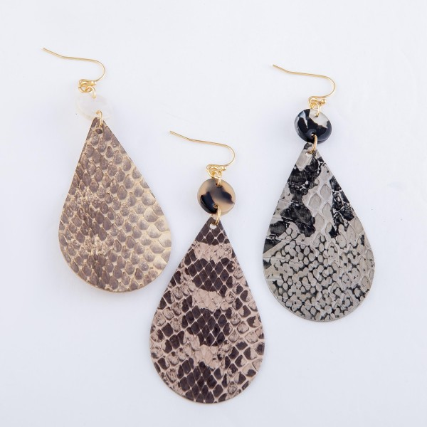 "Snakeskin Teardrop Earrings Featuring Resin Accent.  - Approximately 3"" L"