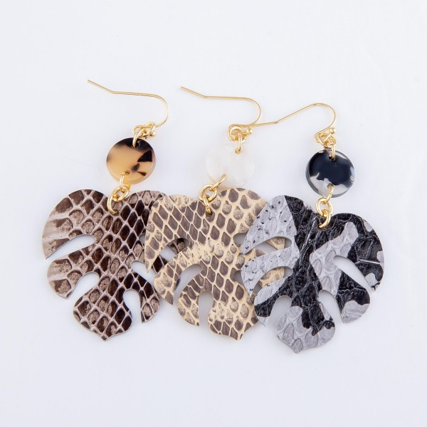 "Snakeskin Palm Leaf Drop Earrings Featuring Resin Accent.  - Approximately 2.5"" L"