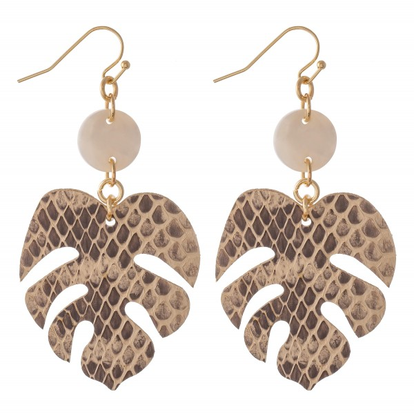 """Snakeskin Palm Leaf Drop Earrings Featuring Resin Accent.  - Approximately 2.5"""" L"""