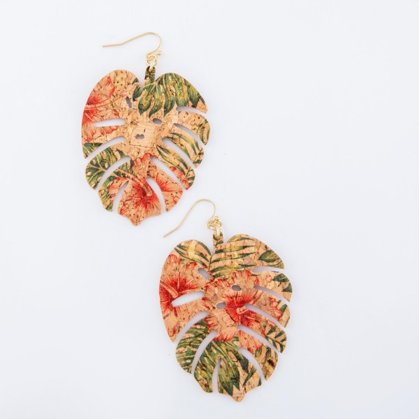 """Tropical Hibiscus Palm Leaf Cork Drop Earrings.  - Approximately 3"""" L"""