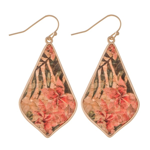 """Tropical Hibiscus Cork Drop Earrings.  - Approximately 2"""" L"""