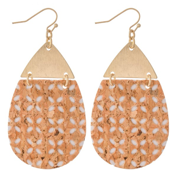"Cork Flower Teardrop Hinge Earrings.  - Approximately 2.75"" L"