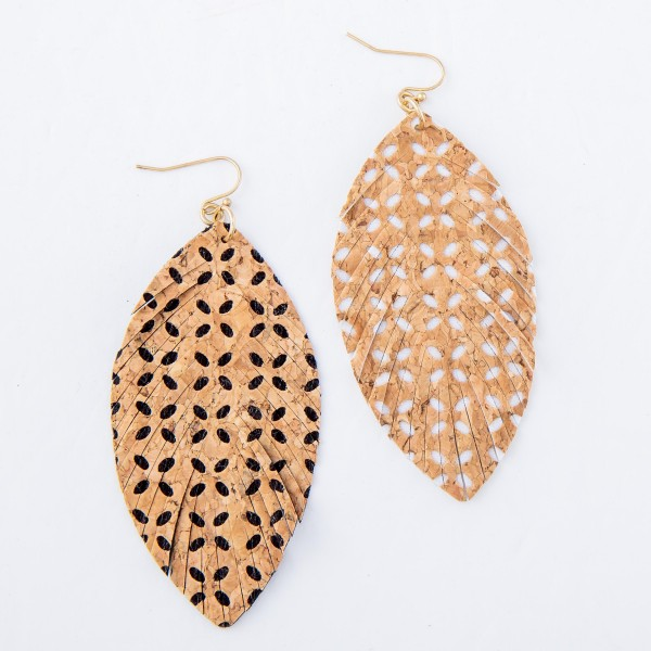 """Faux leather Cork Flower Feather Earrings.  - Approximately 3.5"""" L"""