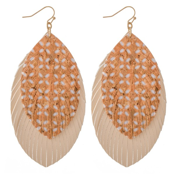 "Faux Leather Cork Flower Print Feather Statement Earrings.  - Approximately 4"" L"