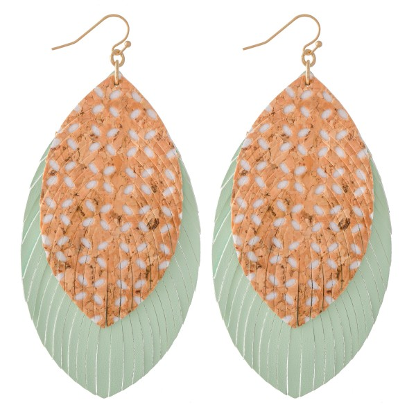 """Faux Leather Cork Flower Print Feather Statement Earrings.  - Approximately 4"""" L"""