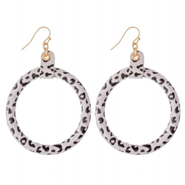 """Flexible Metallic Faux Leather Leopard Print Drop Earrings.  - Approximately 3"""" L - 2"""" in diameter"""