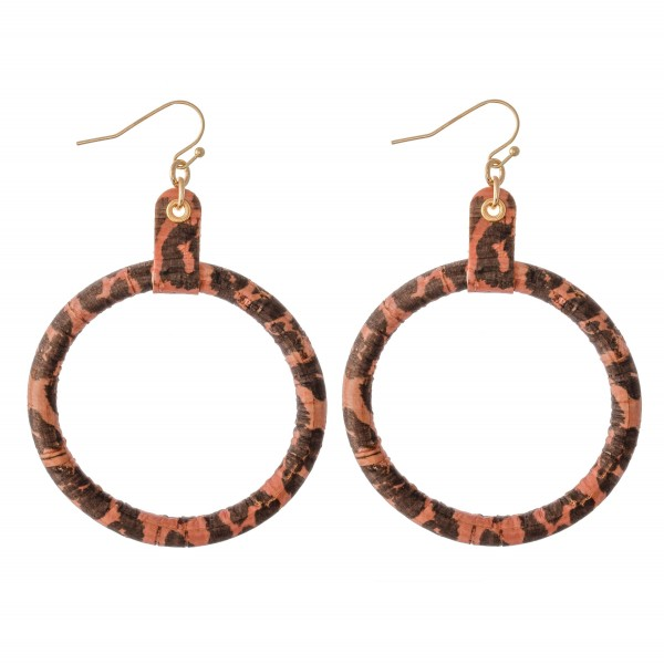 "Flexible Leopard Print Cork Drop Earrings.  - Approximately 3"" L  - 2"" in diameter"