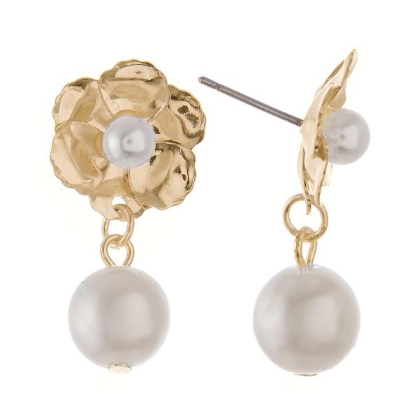 """Flower pearl drop earrings.  - Approximately 1"""" L"""