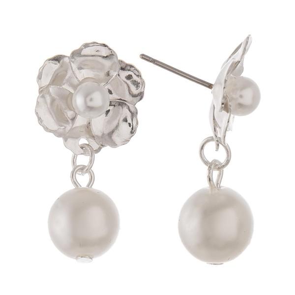 Wholesale flower pearl drop earrings L