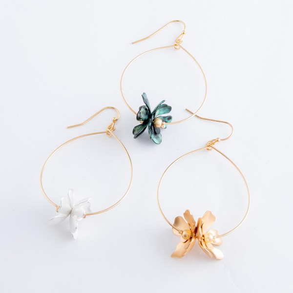 "Patina flower drop earrings.  - Approximately 2.5"" L"