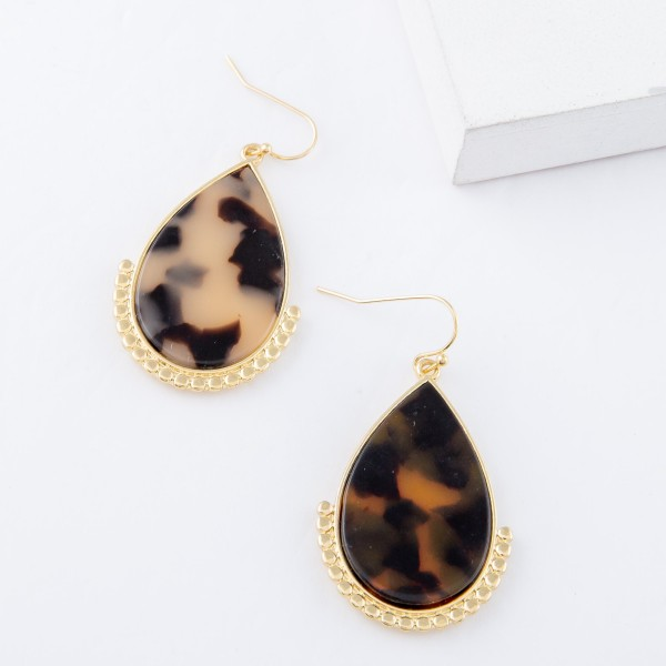 """Tortoise Shell Resin Teardrop Earrings with Gold Beaded Detail.  - Approximately 1.75"""" L"""