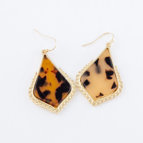"""Tortoise Shell Resin Teardrop Earrings with Gold Beaded Detail.  - Approximately 1.5"""" L"""