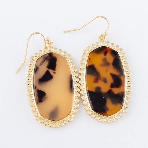 """Tortoise Shell Resin Oblong Drop Earrings with Gold Beaded Trim.  - Approximately 1.75"""" L"""