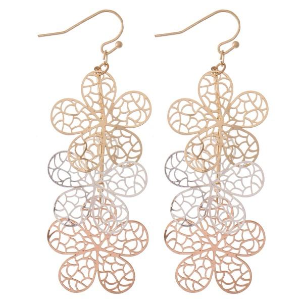 """Multi Tone Filigree Flower Linked Drop Earrings.  - Approximately 3"""" L"""