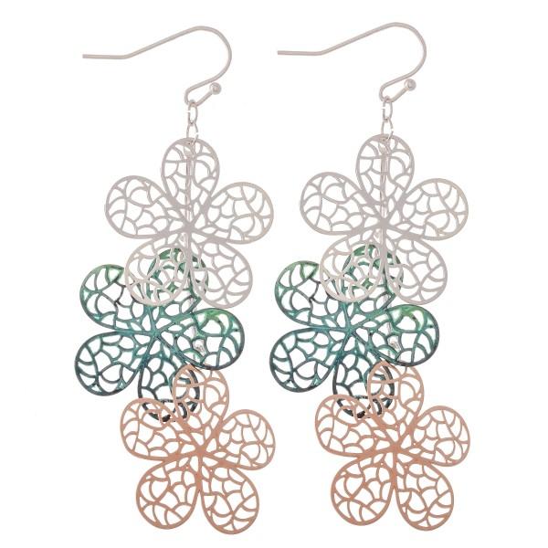 "Patina Multi Tone Filigree Flower Linked Drop Earrings.  - Approximately 3"" L"
