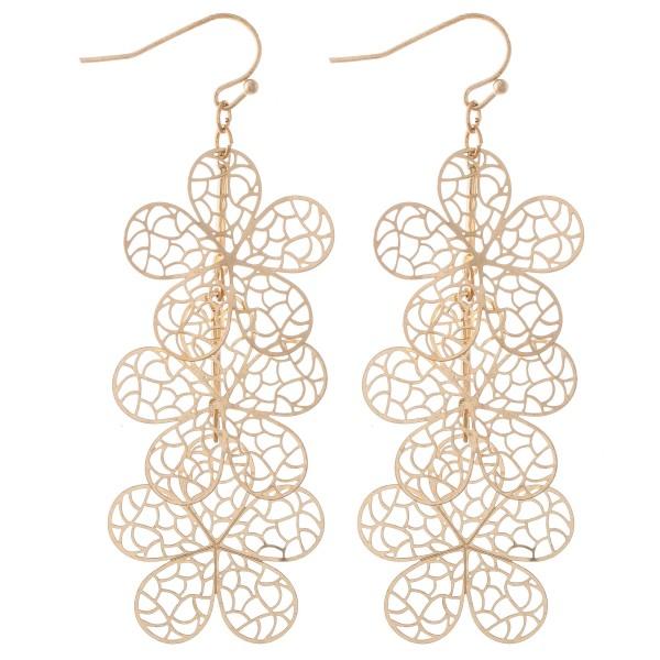 "Gold Tone Filigree Flower Linked Drop Earrings.  - Approximately 3"" L"