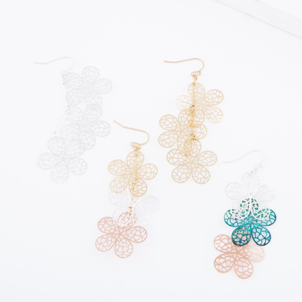 "Silver Tone Filigree Flower Linked Drop Earrings.  - Approximately 3"" L"