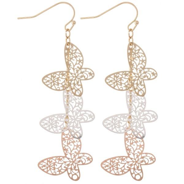 """Multi Tone Filigree Butterfly Linked Drop Earrings.  - Approximately 3"""" L"""