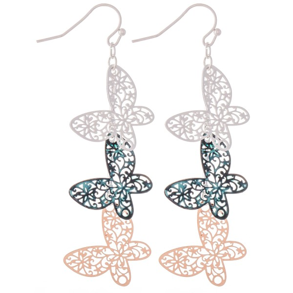 "Patina Multi Tone Filigree Butterfly Linked Drop Earrings.  - Approximately 3"" L"
