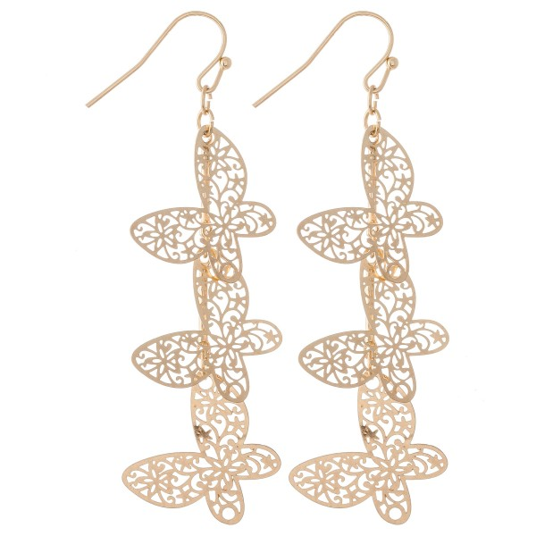"Gold Tone Filigree Butterfly Linked Drop Earrings.  - Approximately 3"" L"