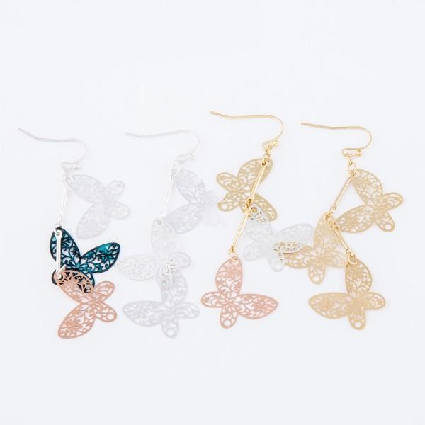 "Silver Tone Filigree Butterfly Linked Drop Earrings.  - Approximately 3"" L"