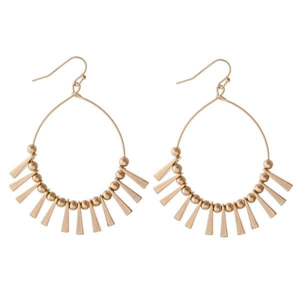 """Metal Tone Spike Tassel Drop Earrings.  - Approximately 2.5"""" L"""