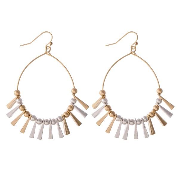 """Two Tone Metal Spike Tassel Drop Earrings.  - Approximately 2.5"""" L"""
