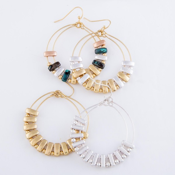 """Two Tone Circular Drop Earrings Featuring Metal Tone Accents.  - Approximately 2"""" L  - 1.75"""" in diameter"""