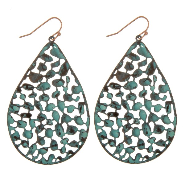 """Patina curved filigree teardrop earrings.  - Approximately 2.5"""" L"""