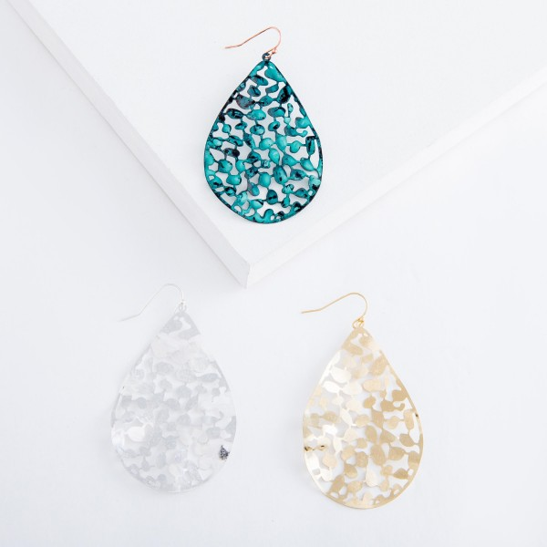 """Gold tone curved filigree teardrop earrings.  - Approximately 2.5"""" L"""