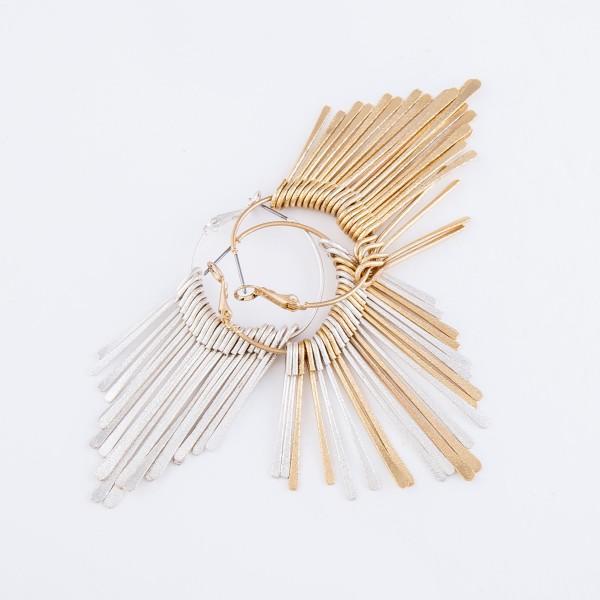 """Two Tone Metal Fringe Tassel Hoop Earrings.  - Approximately 3"""" L  - Hoop Diameter 1"""""""
