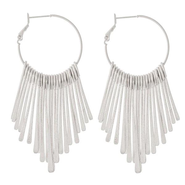 """Metal Fringe Tassel Hoop Earrings.  - Approximately 3"""" L  - Hoop Diameter 1"""""""