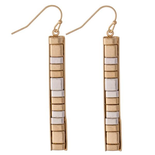 "Two Tone Metal Tile Bar Earrings.  - Approximately 2.25"" L"