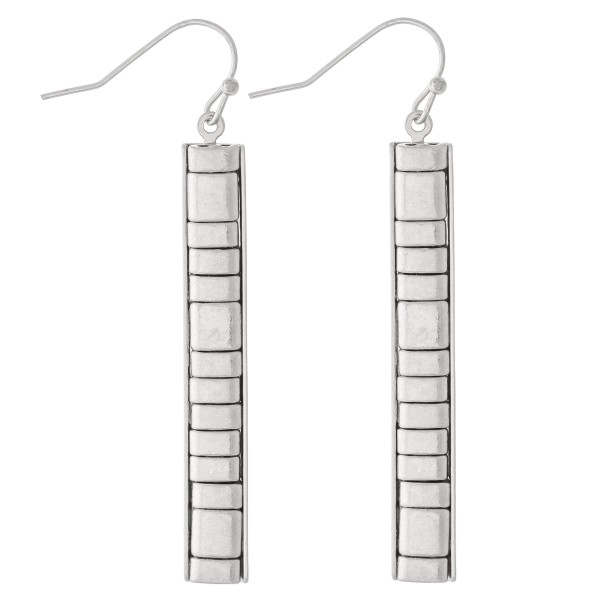 "Metal Tone Tile Bar Earrings.  - Approximately 2.25"" L"