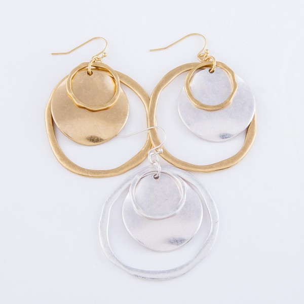 """Modern Hammered Nested Drop Earrings.  - Approximately 2"""" L  - 2"""" in diameter"""