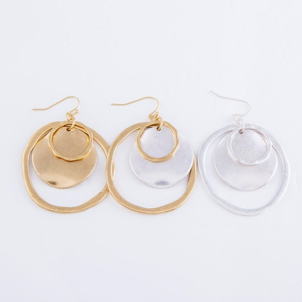 """Two Tone Modern Hammered Nested Drop Earrings.  - Approximately 2"""" L  - 2"""" in diameter"""