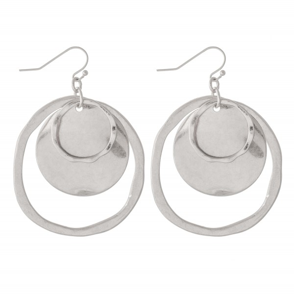 "Modern Hammered Nested Drop Earrings.  - Approximately 2"" L  - 2"" in diameter"