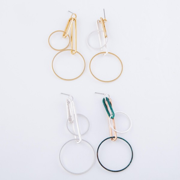 "Tone Two Geometric Linked Drop Earrings.  - Approximately 2.75"" L"