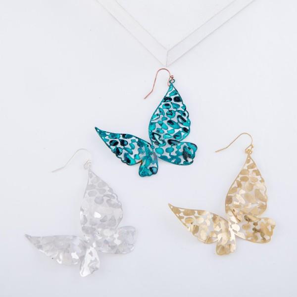 """Metal Tone Filigree Butterfly Drop Earrings.  - Approximately 2.75"""" L"""