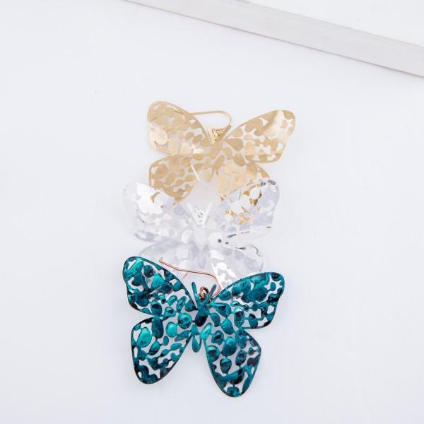 """Metal Tone Filigree Butterfly Earrings.  - Approximately 2"""" L"""