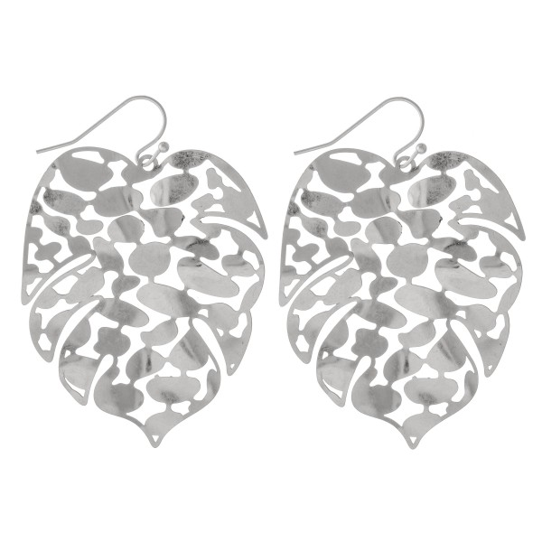 "Metal Tone Filigree Palm Leaf Drop Earrings.  - Approximately 2"" L"