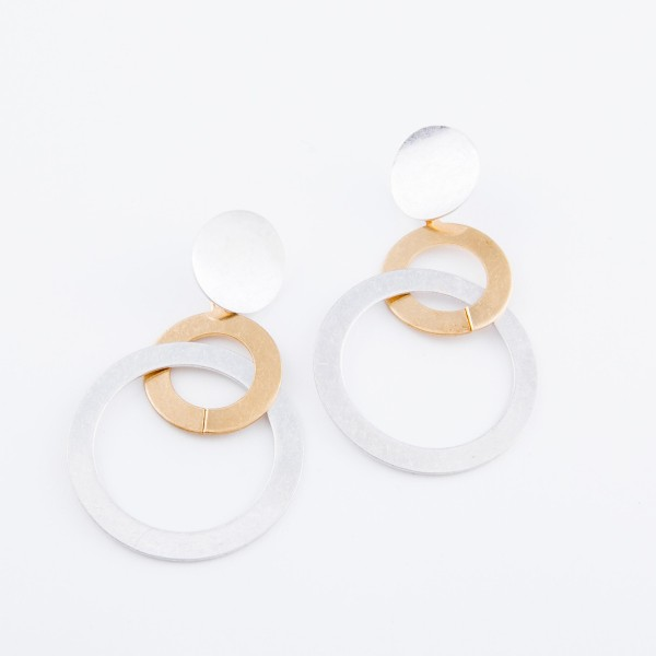 """Worn two tone Modern style statement earrings.  - Approximately 3"""" L"""