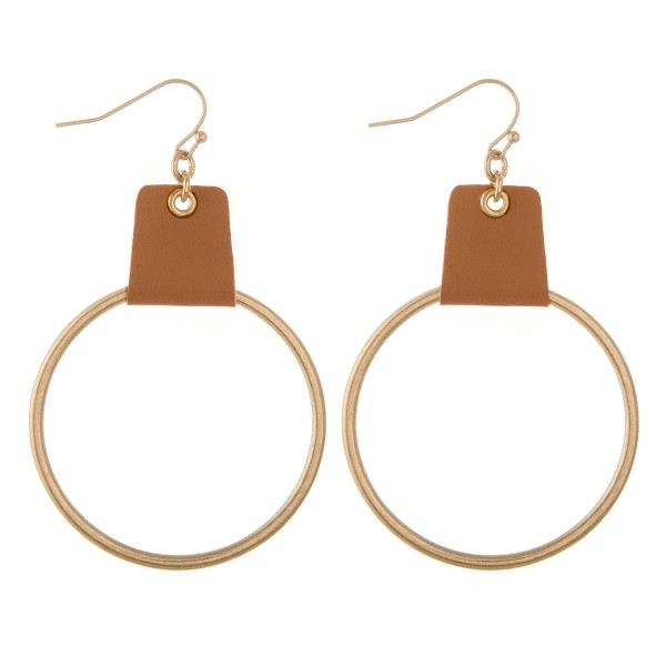 "Faux leather cuffed circle drop earrings.  - Approximately 3"" L"