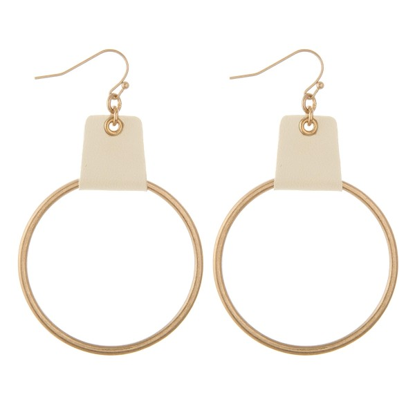 Wholesale faux leather cuffed circle drop earrings L