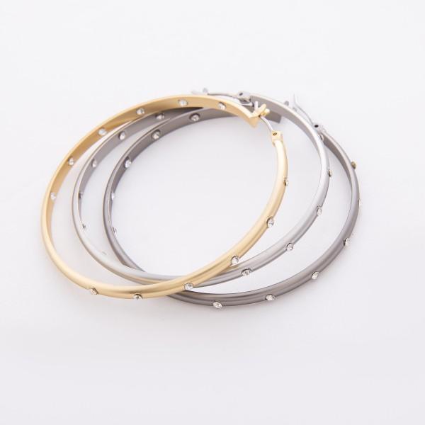 "Outer and Inner Rhinestone Hoop Earrings.  - Approximately 2"" in diameter"