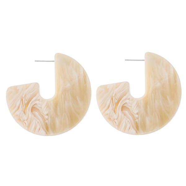 "Thick Natural Marble Resin Open Hoop Earrings.  - Stud post - Approximately 2"" in diameter"