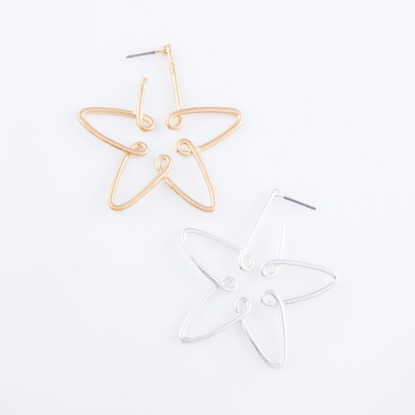 "Star Wire Hoop Earrings.  - Approximately 2"" L"