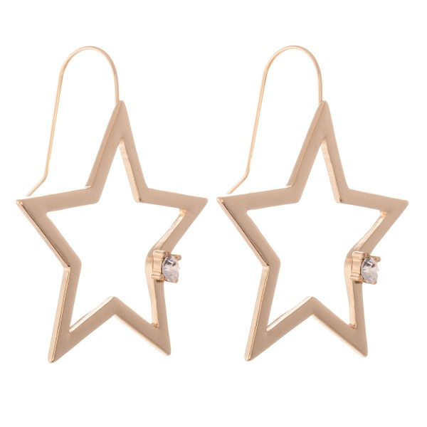 "Star Drop Earrings with Rhinestone Detail.  - Approximately 1.5"" L"