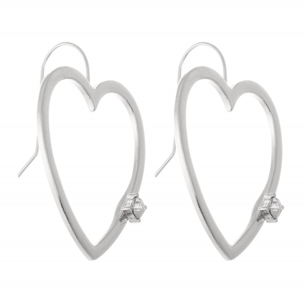 "Heart Drop Earrings with Rhinestone Detail.  - Approximately 1.5"" L"