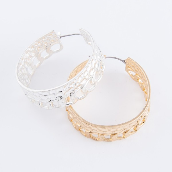 "Hammered Curb Chain Link Hoop Earrings.  - Approximately 1.5"" in diameter"